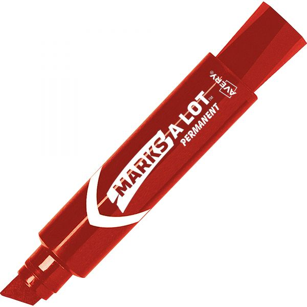 Avery MARK A LOT Jumbo Desk-Style Permanent Marker, Chisel Tip, Red