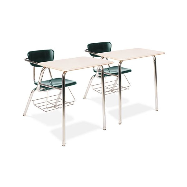 Virco Martest 21 Chair Desks, Forest Green w/Sandstone Writing Surface, 2/Carton