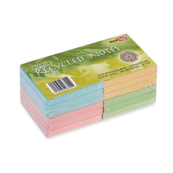 """Redi-Tag 100% Recycled 3"""" x 3"""" Adhesive Note Pads"""