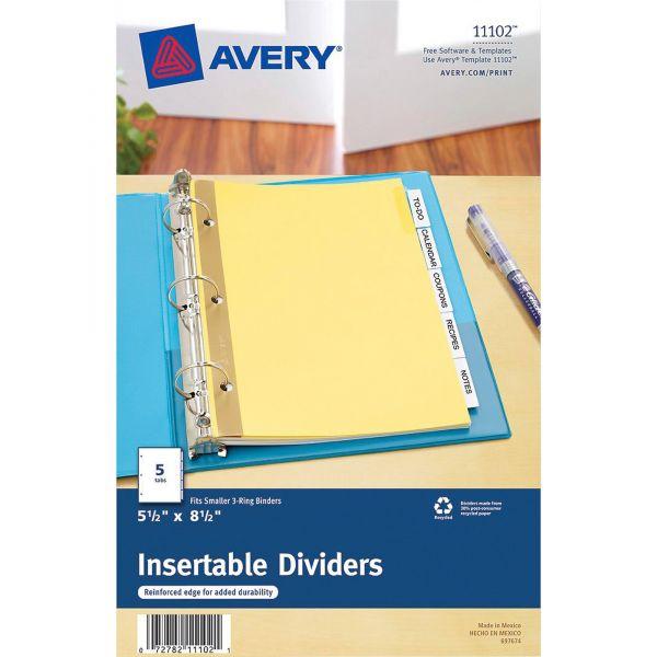 Avery Insertable Standard Tab Dividers, 5-Tab, Clear Tab, 8 1/2 x 5 1/2, 1 Set