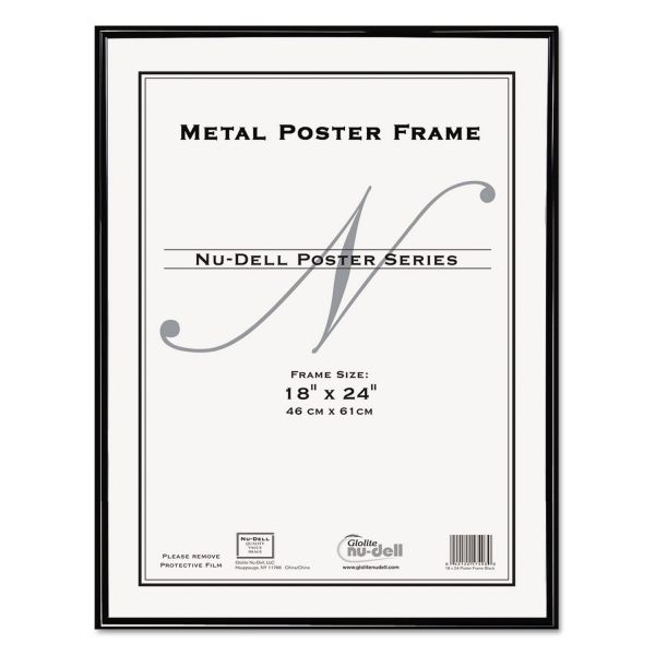 NuDell Metal Poster Frame, Plastic Face, 18 x 24, Black