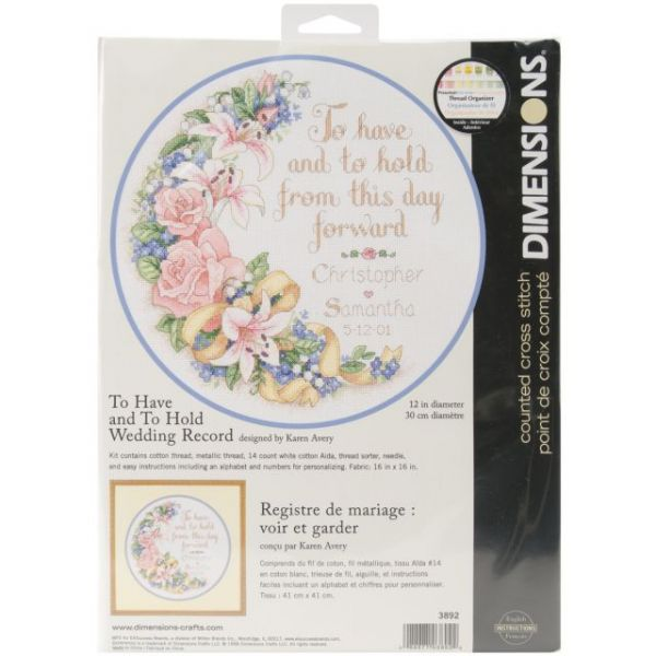Dimensions To Have & To Hold Wedding Record Counted Cross Stitch Kit