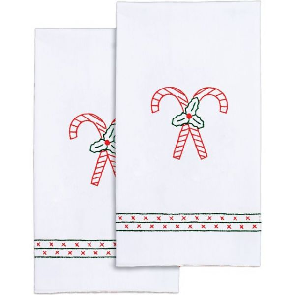 Stamped White Decorative Hand Towels