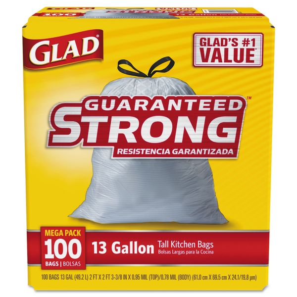 Glad Drawstring 13 Gallon Tall Kitchen Trash Bags