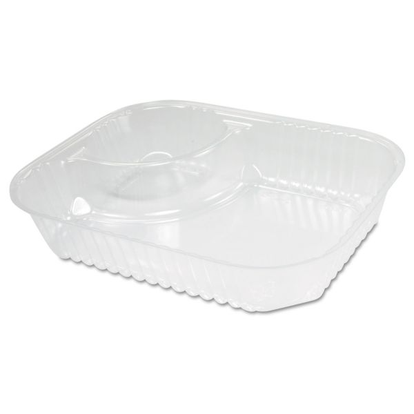 Dart ClearPac Large Nacho Tray, 2-Compartments, Clear, 500/Ctn