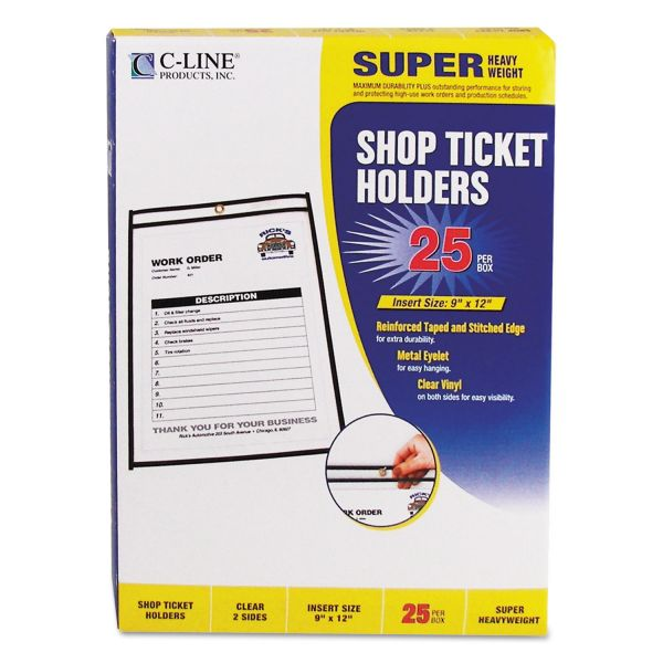 C-Line Shop Ticket Holders, Stitched, Both Sides Clear, 75 Sheets, 9 x 12, 25/BX