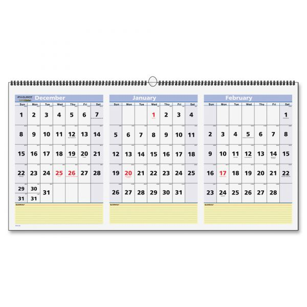At-A-Glance QuickNotes 3-Month Horizontal Wall Calendar