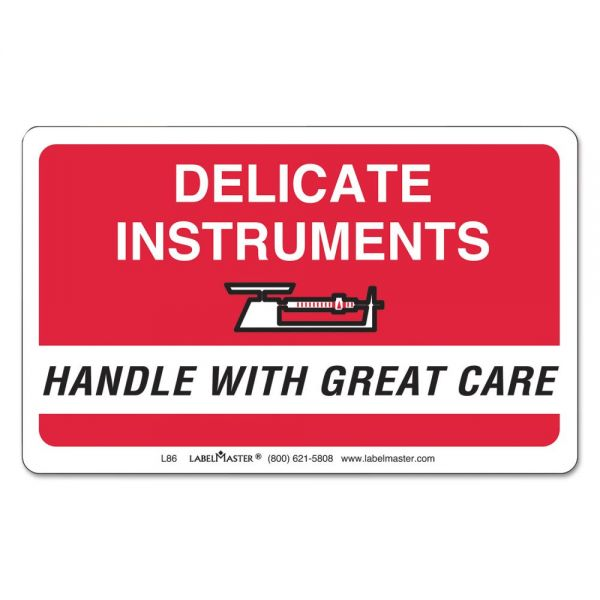 LabelMaster Shipping/Handling Self-Adhesive Label, 2 1/4 x 4, DELICATE INSTRUMENTS, 500/Roll