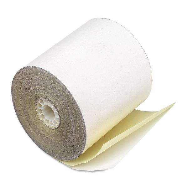 "PM Company Paper Rolls, Credit Verification, 2 1/4"" x 70 ft, White/Canary, 50/Carton"