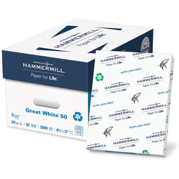 Hammermill Great White 50 Recycled Copy Paper, 20-lb., 8-1/2 x 11, White, 5000/Carton