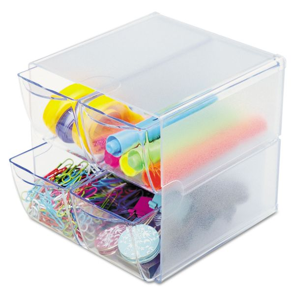 deflect-o Desk Cube, with Four Drawers, Clear Plastic, 6 x 6 x 6
