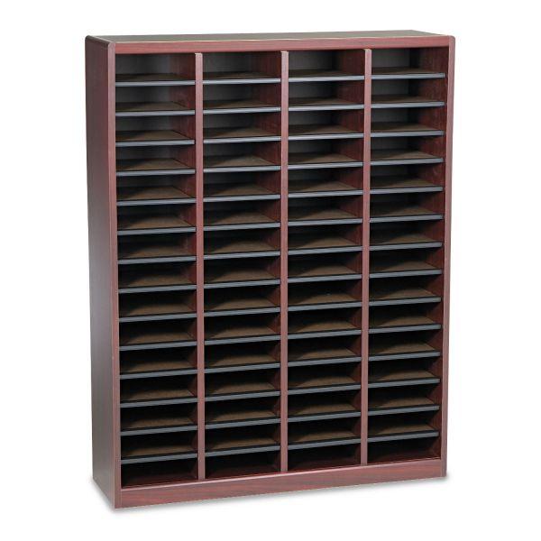 Safco Wood/Fiberboard E-Z Stor Sorter, 60 Slots, 40x11 3/4x52 1/4, Mahogany, 2 Boxes