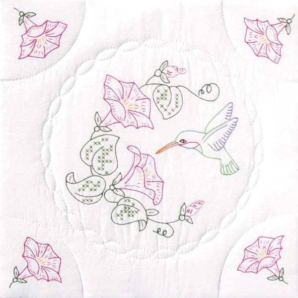 "Stamped White Quilt Blocks 18""X18"" 6/Pkg"