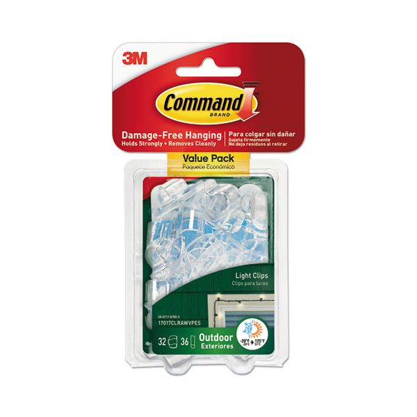 Command All Weather Hooks and Strips, Plastic, Small, 32 Clips & 36 Strips/Pack