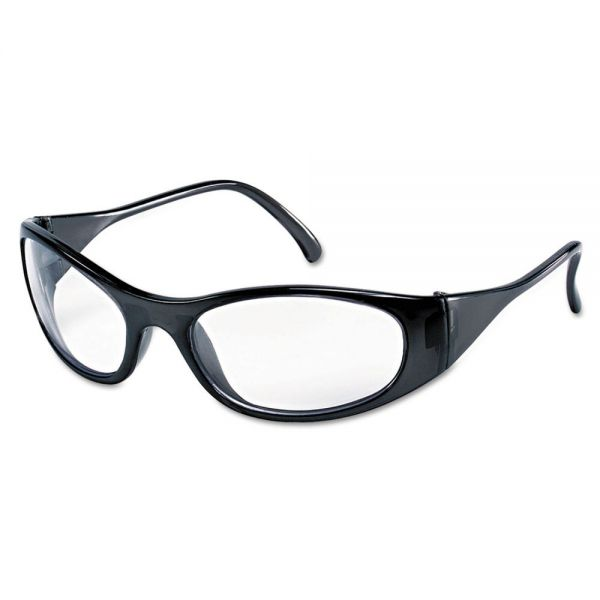 Crews Frostbite2 Safety Glasses, Frost Black Frame, Squared Clear Lens