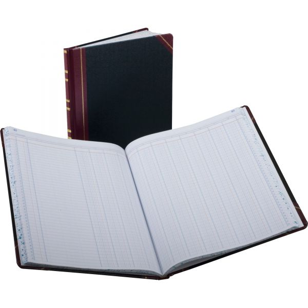 Boorum & Pease Columnar Accounting Book, 12 Column, Black Cover, 150 Pages, 10 1/8 x 12 1/4