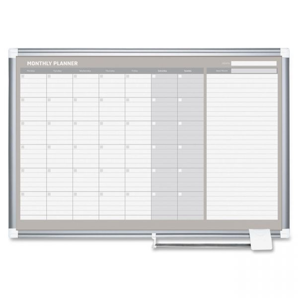 MasterVision Monthly Planner, 36x24, Silver Frame