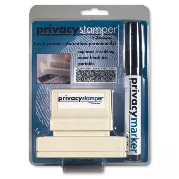 Xstamper Secure Stamp S18 with Marker, 15/16 x 2 13/16, Black
