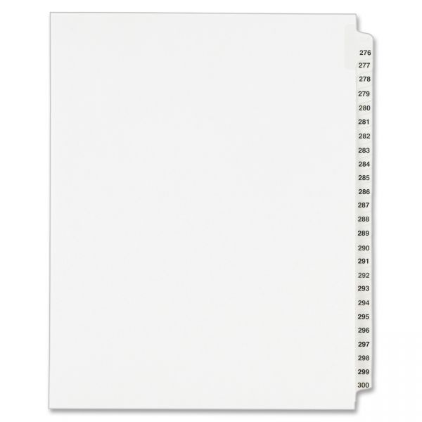 Avery-Style Legal Exhibit Side Tab Divider, Title: 276-300, Letter, White