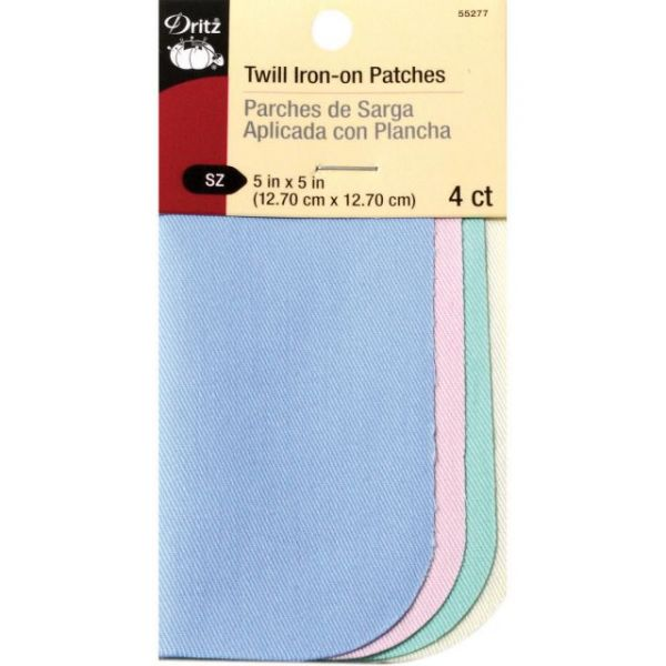 "Iron-On Twill Patches 5""X5"" 4/Pkg"