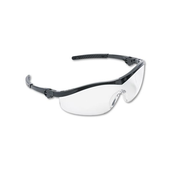 Crews Storm Wraparound Safety Glasses, Black Nylon Frame, Clear Lens, 12/Box