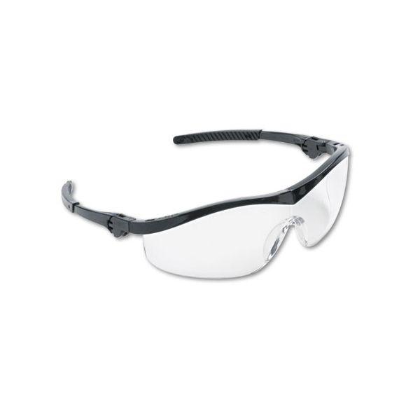 MCR Safety Storm Wraparound Safety Glasses, Black Nylon Frame, Clear Lens, 12/Box