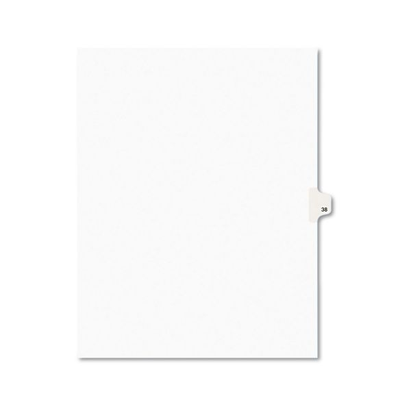 Avery-Style Legal Exhibit Side Tab Divider, Title: 38, Letter, White, 25/Pack