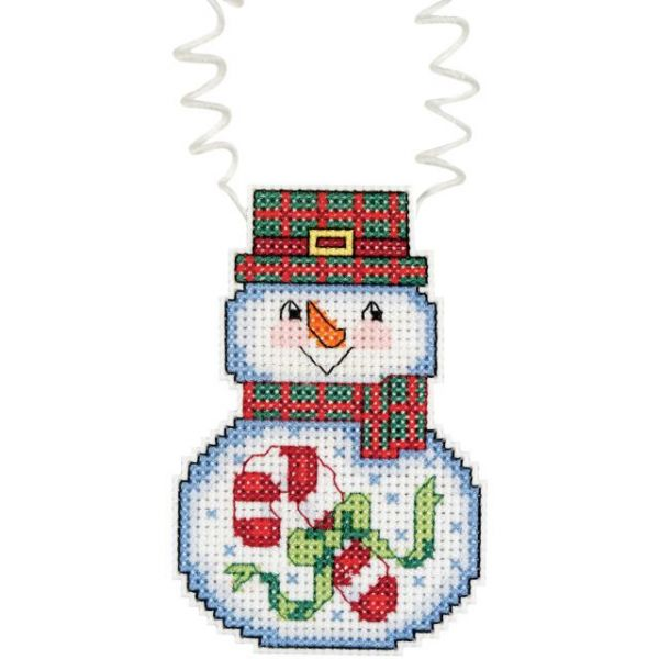 Janlynn Holiday Wizzers Snowman With Candy Cane Counted Cross Stitch Kit