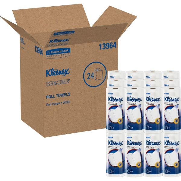 "Kleenex Premiere Paper Towels, 10.40"" x 11"", 1 Ply, White, 70 Sheets/ Roll - 24 Rolls/ Carton"