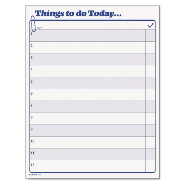 "TOPS ""Things To Do Today"" Daily Agenda Pad, 8 1/2 x 11, 100 Forms"