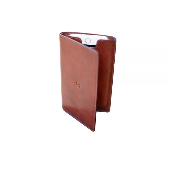 Leather Wallet with iPhone 6/6s Plus Case in Dark Brown