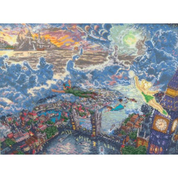 Disney Dreams Collection By Thomas Kinkade Tinker Bell And Peter Pan Cross Stitch Kit