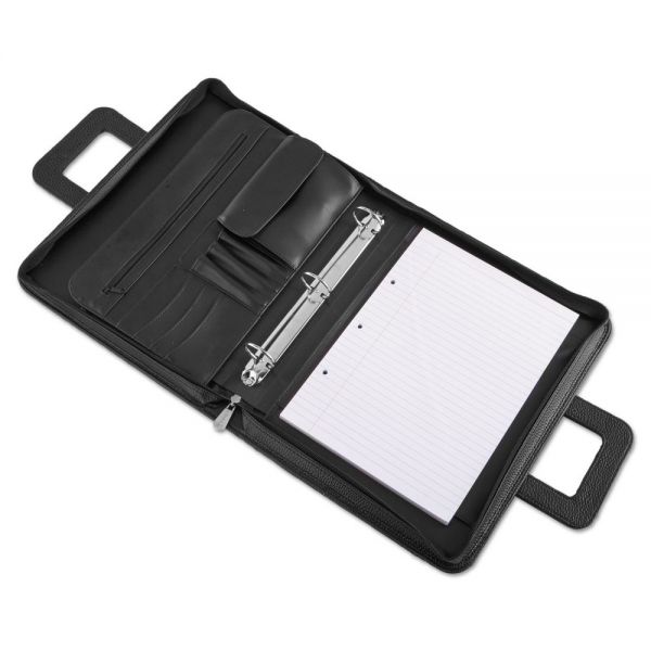Universal Zip-Around Padfolio, Vinyl, 14-1/2 x 2-3/4 x 11-1/2, Black