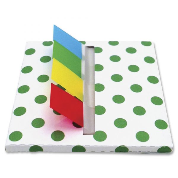 Redi-Tag Green Dot Designer Pop-Up Page Flag Dispenser, 4 Pads of 35 Flags Each
