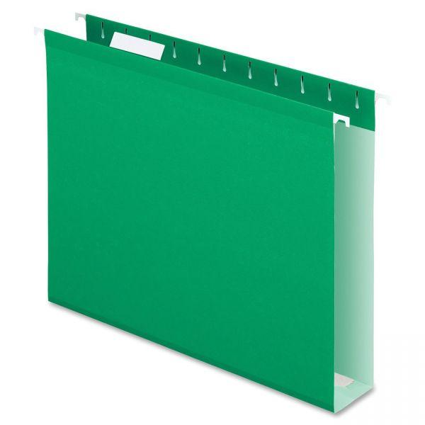 "Pendaflex Reinforced 2"" Extra Capacity Hanging Folders, Letter, Bright Green, 25/Box"