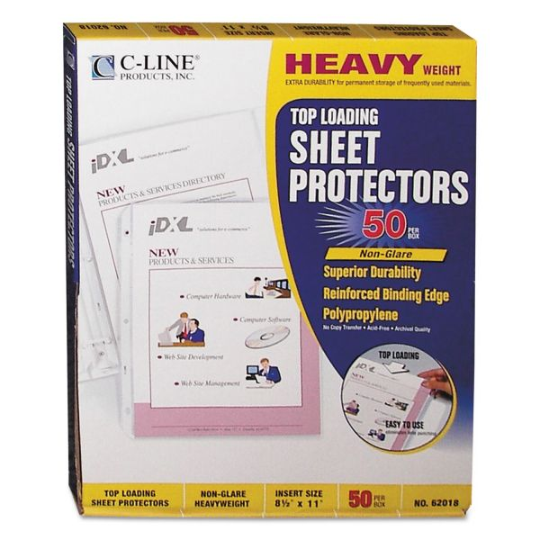 C-Line Top Loading Non-Glare Sheet Protectors