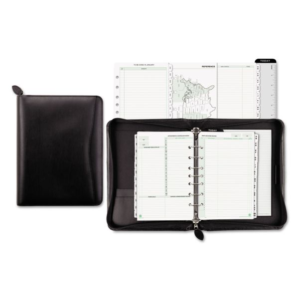 Day-Timer Recycled Bonded Leather Starter Set, 5 1/2 x 8 1/2, Black Cover