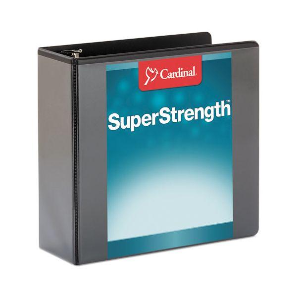 "Cardinal SuperStrength ClearVue Locking Slant-D Ring Binder, 4"" Cap, 11 x 8 1/2, Black"