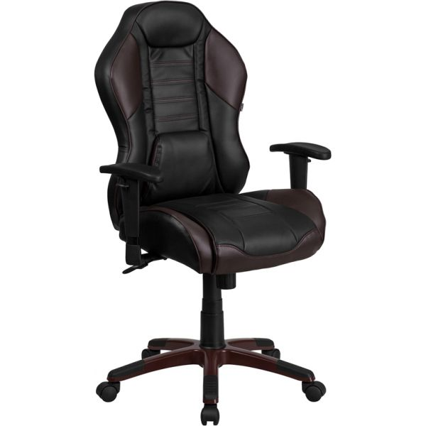 Flash Furniture High Back Marrone Eklipsis Vinyl Executive Office Chair with Inner-Coil Spring Comfort Seat