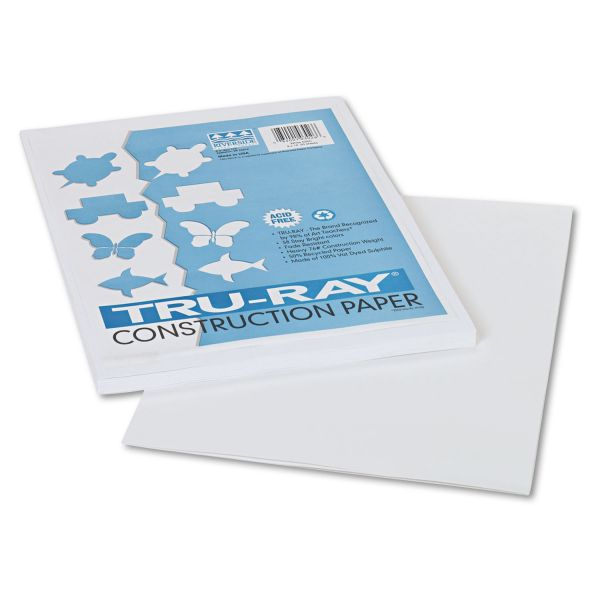 Pacon Tru-Ray Construction Paper, 76 lbs., 9 x 12, White, 50 Sheets/Pack