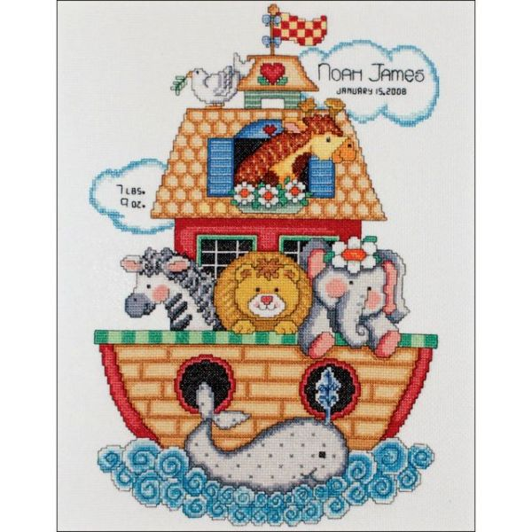 Noah's Ark Birth Record Counted Cross Stitch Kit