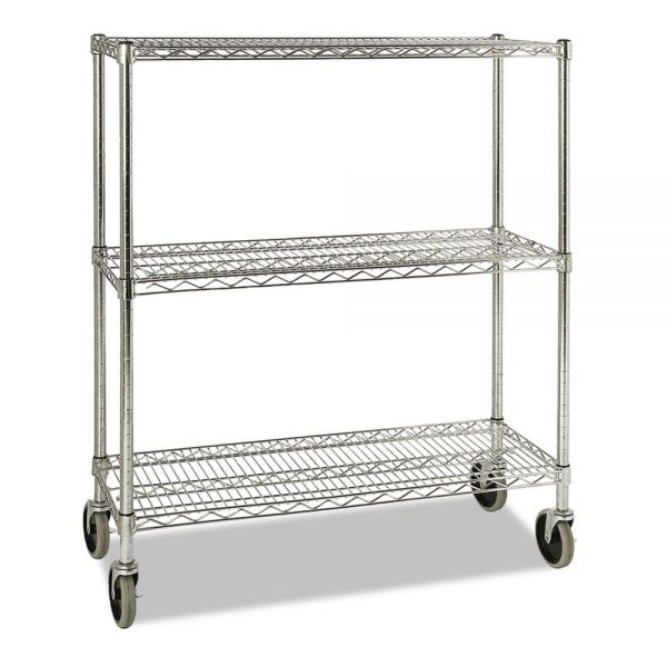 Rubbermaid Commercial ProSave Shelf Ingredient Bin Cart, Three-Shelf, 38w x 14d x 48 3/8h, Chrome
