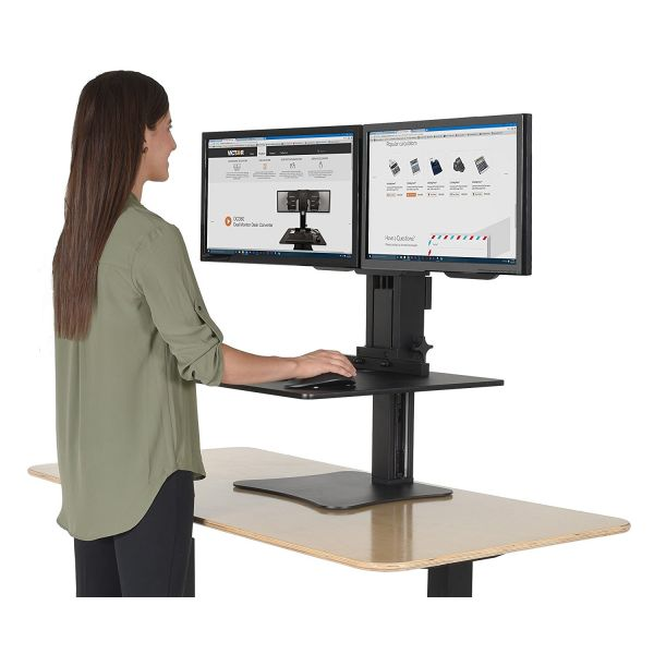 Victor High Rise Dual Monitor Sit-Stand Workstation, 28 x 23 x 15 1/2, Black