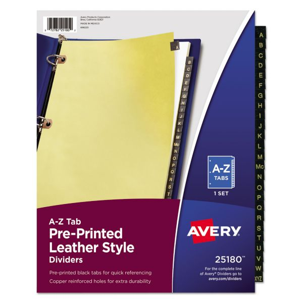 Avery Leather Style Alphabet Tab Index Dividers with Copper-Reinforced Holes