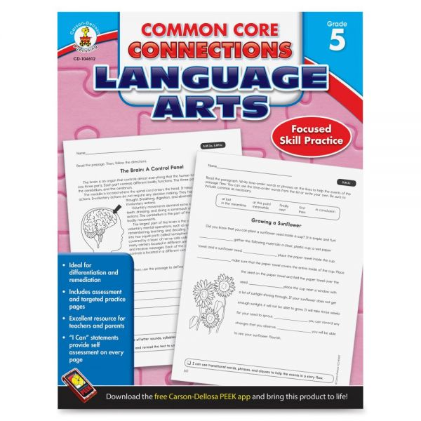 Carson-Dellosa Common Core Connections Language Arts Workbook Learning Printed Book for Art - English