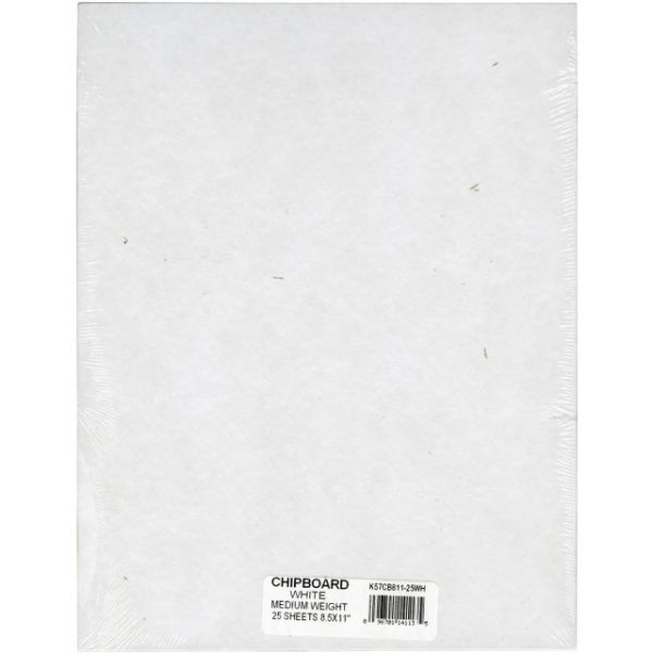 "Medium Weight Chipboard Sheets 8.5""X11"" 25/Pkg"