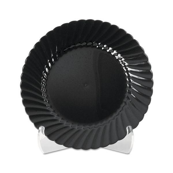 WNA Classicware Plastic Plates, 9 Inches, Black, Round, 25/Pack