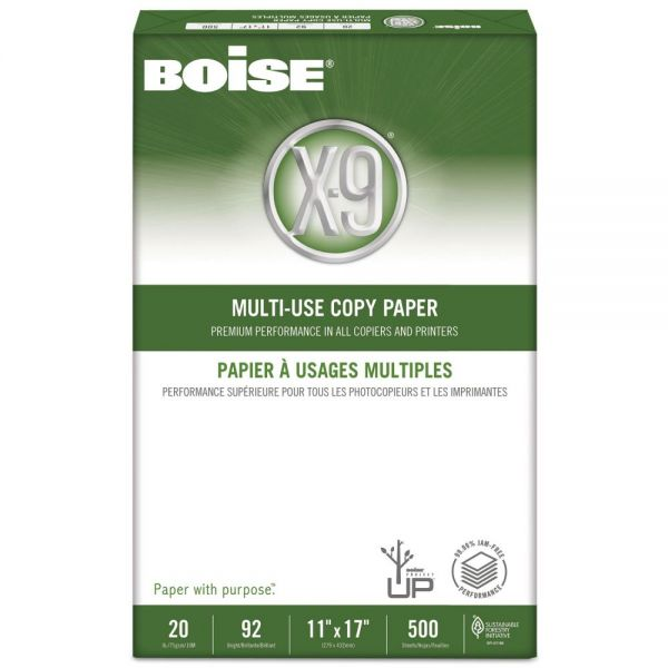 Boise X-9 Multi-Use Copy Paper, 92 Brightness, 20 lb, 11 x 17, White, 2500 Sheets/Carton
