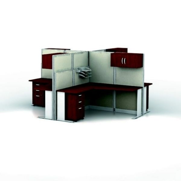bbf Office-in-an-Hour 4 L-Workstation Configuration - Hansen Cherry finish by Bush Furniture