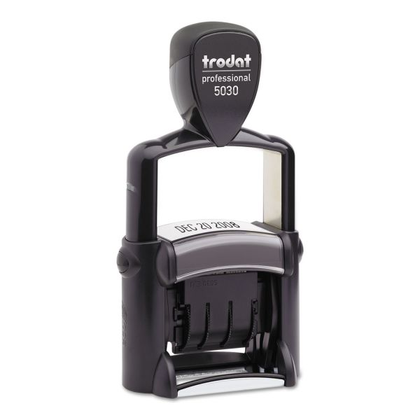 U. S. Stamp & Sign Trodat Professional Stamp, Dater, Self-Inking, 1 5/8 x 3/8, Black